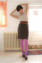 platforms Forever 21 shoes - lilac HUE tights - H&M blouse - filipa k skirt - Ye