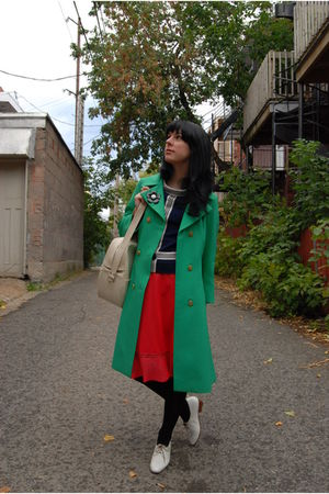 vintage coat - vintage blouse - vintage bag - slip - vintage shoes
