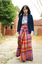 navy vintage blazer - maroon vintage bag - light blue Urban Outfitters blouse