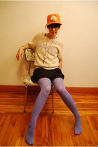 Urban Outfitters dress - vintage hat - HUE tights - cream crochet vintage t-shir