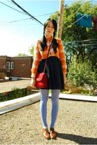 carrot orange Forever 21 blouse - brown vintage shoes - violet HUE tights
