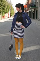 Forever 21 skirt - blue Forever 21 jacket - yellow la maison simmons tights