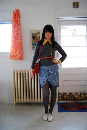 white oxfords vintage shoes - Zara sweater - vintage shirt - bright orange vinta