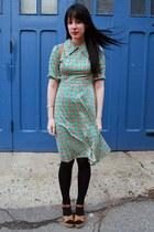 aquamarine vintage dress - black H&M tights - tawny handmade bag - tawny thrifte