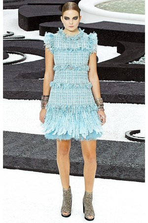 aquamarine tweed feathers Chanel dress