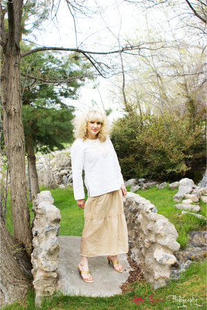 ring romwe accessories - gold vintage skirt - white embroidered vintage top