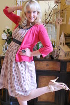 baby doll Down East Basics dress - silver Kmart necklace - red merona cardigan -