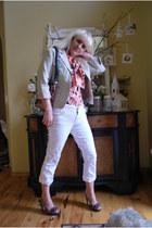 white studded Glo Jordan crop jeans - beige merona blazer - copper Kmart bag - a