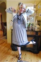 Studio dress - white tweed Jaclyn Smith jacket - black bling Candies heels - hea
