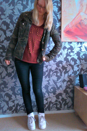 Amy & Ivy jacket - H&M jeans - Amy & Ivy shirt - nike sneakers