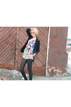 black oversized H&M blazer - tan New Yorker shorts - bubble gum colourful flowy