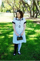 black ghost Em & Sprout shoes - white polka-dot vintage dress