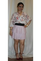 floral H&M blouse - Payless shoes - Dynamite Clothing skirt