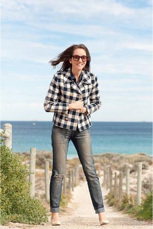 vintage jacket - nobody jeans - Wittner wedges - silk blouse vintage blouse