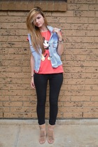 red Cotton On Body t-shirt - beige betts shoes - black gasp jeans