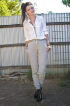 gray Topshop pants - black zu shoes - white Dont Ask Amanda shirt