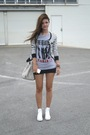 Black-supre-skirt-silver-beatles-t-shirt-white-converse-shoes-bardot-cardi