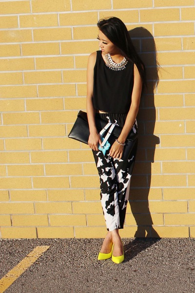 black Choies bag - black Zara pants - yellow Aldo heels - white Topshop necklace