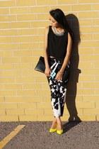 black Choies bag - black Zara pants - yellow Aldo heels - white Topshop necklace