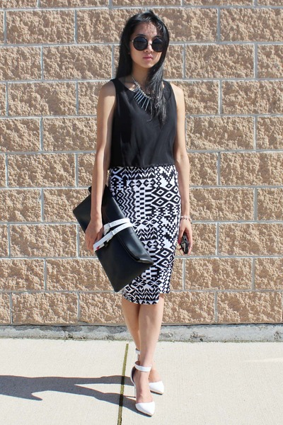 black Choies bag - white Stradivarius heels - silver Aldo necklace