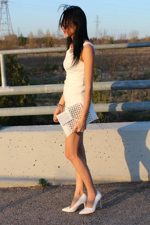 white Zara dress - white Browns bag - white Aldo heels