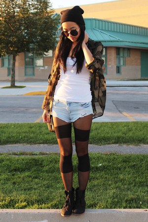 black Steve Madden boots - black Zara bag - light blue Zara shorts