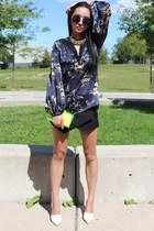silver Hotttshit necklace - lime green Zara bag - black Zara shorts