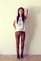 white Forever 21 t-shirt - black Aldo heels - tawny Zara pants