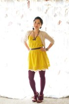gold Forever 21 dress - magenta HUE tights - eggshell Forever 21 skirt - tan J C
