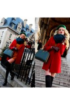 carrot orange Zara dress - ruby red Zara coat - teal Zara scarf - teal Prada bag