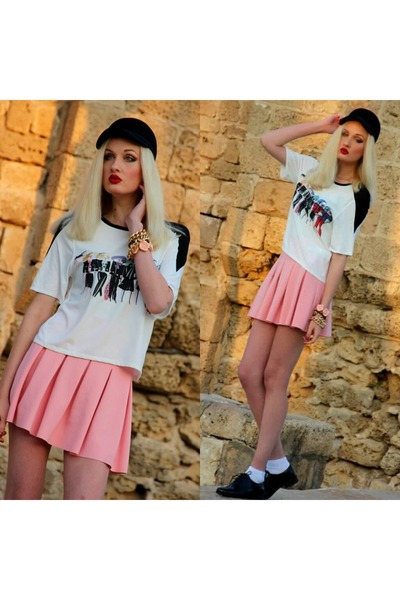 black Mango hat - white Zara shirt - black Clarks loafers - salmon Zara skirt