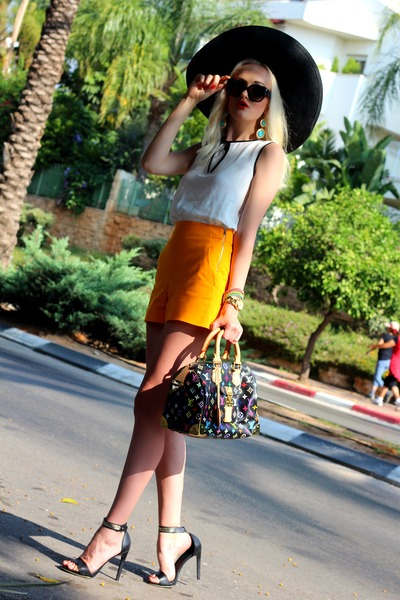 white Zara shirt - black Louis Vuitton bag - carrot orange Zara shorts