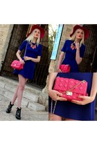 hot pink christian dior bag - deep purple Zara dress - black asos heels