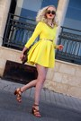 Yellow-choiescom-dress-dark-brown-louis-vuitton-bag-brown-zara-heels