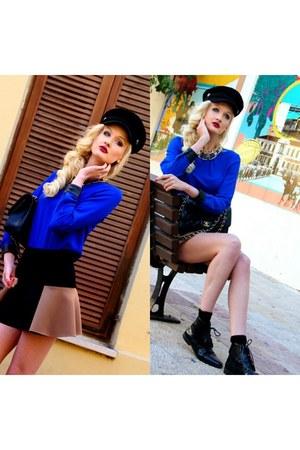 black H&M hat - black Zara boots - blue Zara shirt - black Chanel bag