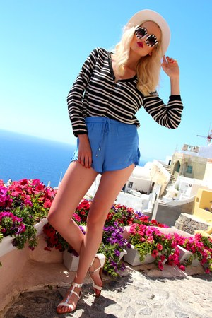 white Zara hat - black Zara shirt - teal Zara shorts - white Zara sandals
