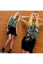 black asos boots - green Zara shirt - black Zara bag - black Ebay necklace
