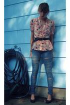 Marshalls jeans - elle shirt - belt - shoes