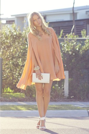nude cape Wayne Cooper dress - white vintage bag - white Topshop heels