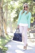 aquamarine acne sweater - eggshell asos jeans - black antoine and stanley bag