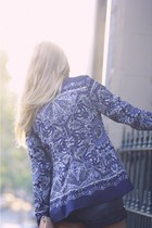 black from japan shoes - blue paisley Zara jacket - peach vintage bag