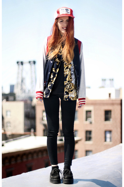 brick red vintage hat - navy Doris Apparel jacket - black Lamb & Flag leggings