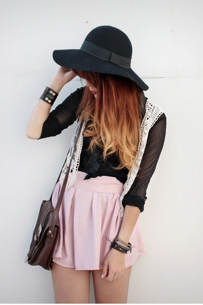 black Forever 21 hat - dark brown vintage bag - light pink vintage skirt