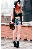 brick red vintaeg bag - sky blue Living Royal shorts - black vintage vest