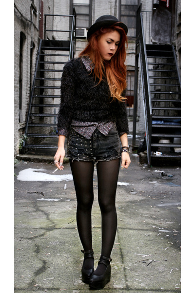 deep purple vintage blouse - black VJ-style shoes - black AX sweater