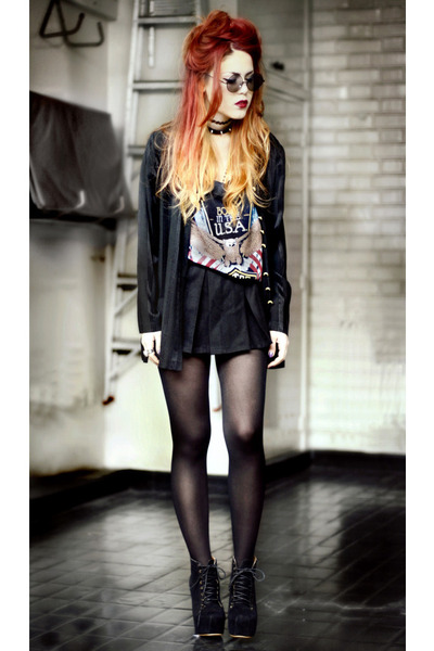 black Sheinside t-shirt - black Sheinside skirt