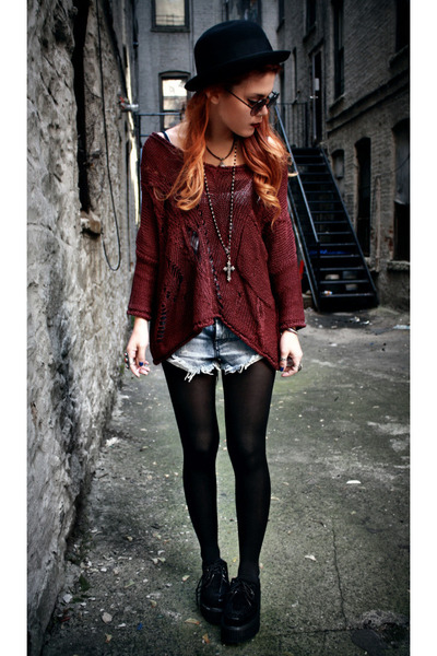 brick red Alainnbella jumper - black creepers romwe shoes - black H&amp;M hat