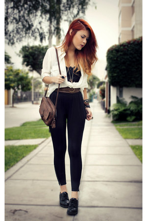 black vintage shoes - white vintage blouse - black iwearsin pants