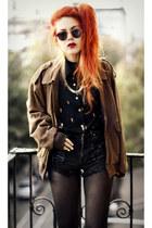light brown vintage jacket - black Sheinside blouse