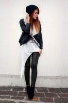 black albertsons hat - black GiGi Vintage leggings - white evil twin top - black